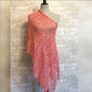 Bebe Pink Fringe Knit Asymmetrical Poncho